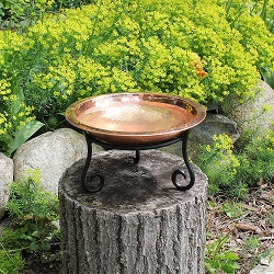 Achla Hammered Solid Copper Birdbath with Short Stand